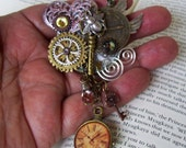 Steampunk Brooch (P520) - Industrial Pin Design - Brass Gears and Clock Face - Dangle Crystal - Wings and Bumble Bee