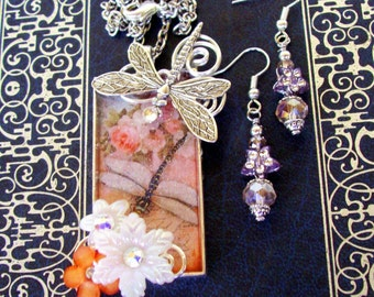 Jewelry Set (S612) Necklace and Earrings, Dragonfly Graphic Under Resin Pendant, Flowers, Crystal Dangles, Orange and Peach