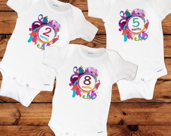 Unique Colorful Baby Girl Monthly Onesies - 12 Month Set