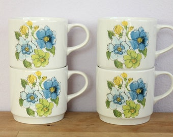 Vintage 1970's Blue + Green + Yellow Floral Stacking Mugs England 4