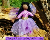 Fairy Doll - Brown Skin Fairy - Purple -  Flower Fairy Doll - Bendy Doll - Tooth Fairy - Fairy Garden - Black Fairy Doll -