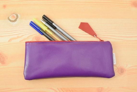 Leather pencil case,leather pencilcase,leather pouch,purple leather,purple pencil case,leather case,leather purple,violet pencil case