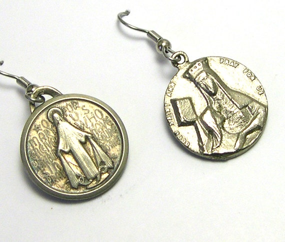 OOAK Handmade Assemblage Religious Medal Earrings, Religious Medallions, Catholic, Religion Silver, Repurposed Vintage, Upcycled, Recycled