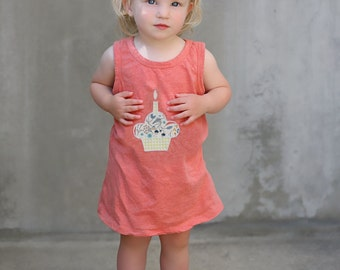 Cupcake Swing Tank Dress with Bloomers.  Organic and Fair Trade Certified Coral Baby Girl Dress.  Infant Dress. Birthday Dress 1st Birthday