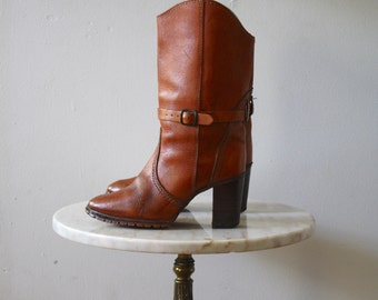 High Heeled Boots Leather - 6 6.5 Women's - Cowboy Brown 1980s Vintage