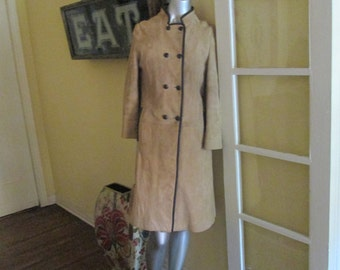 Vintage Women Suede Long Coat / 60s Double Breasted Camel Suede Coat M / L