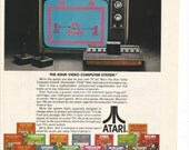 1979 Atari Advertisement Video Computer Game System 80s Cartridges Play TV 70s Monitor Games Retro Wall Art Decor