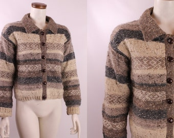 Vintage 90s - Natural Tan Brown & Gray Striped Weave - Lambswool Mohair - Button Up Cardigan Sweater - GAP