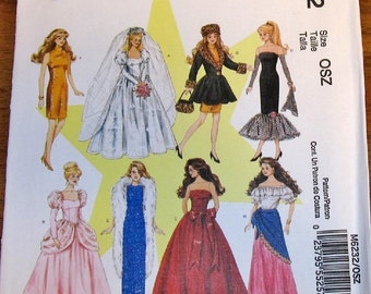 "Craft Sewing Pattern McCall's 6232, Barbie Dress up Clothes Wardrobe, 11.5"" Fashion Dolls Wedding Evening Mermaid Gown, Uncut Factory Folds"