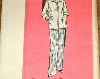 Pantsuit, Zipped Jacket Pull on Pants, Women's Misses Vintage 1970s Mail Order Sewing Pattern 4752 Size 16 Bust 38 Uncut Factory Folds