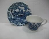 Myott Royal Mail Staffordshire China Tea Cup and Saucer Set / Blue Transferware Vintage China Teacup and Saucer / Blue Vintage China Cup