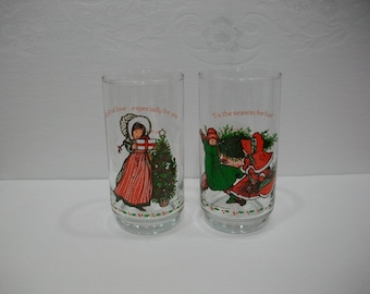 Holly Hobbie Coca Cola Coke Christmas Glasses / American Greetings Corp Holly Hobbie Christmas Glasses / 1981 Collectible Holly Hobbie