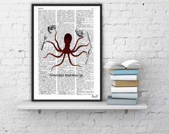 Summer Sale Book Print Dictionary or Encyclopedia Page Book print Octopus Gourmet  Original  Vintage Design Print on Old Bookart art SEA046