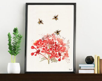 Bees with Geranium flowers - Wall art print, Floral art, Bees Wall decor, Wall decor- bee print art BFL001WA4