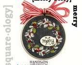 Merry Berry OPTIONAL embellishments : Squareology Hands on Designs Just Another Button Co. cross stitch patterns Christmas wall art