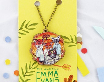 "Fantastic Mr Fox, Wes Anderson- Wild Animals - 20"" Bronze / Wooden Necklace."