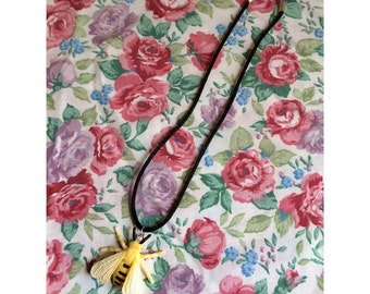 Bumble Bee Satin Cord Necklace