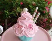 Rosette Shabby Cottage Fake Cupcake Home Decor and Photo Prop, Sweet Faux Cupcake Shop Displays and Lovely Gifts