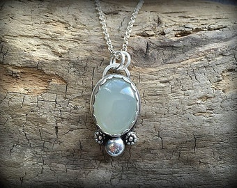 Milky Moonstone Sterling Silver Necklace