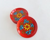 Retro Floral Coasters Set of 12 Tin Metal Lithograph Red, Yellow, Blue Flowers Made in Brazil