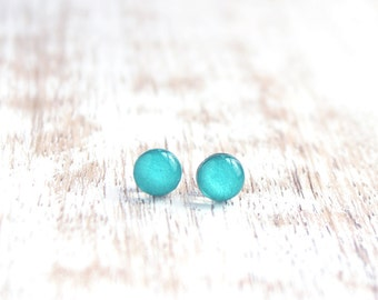 Mint Julep Itty Bitty Dots Stud Earrings - Teal Turquoise - Hypoallergenic Surgical Stainless Steel Post Earrings