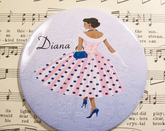 Personalized African American Woman Lipstick Mirror, 1950's Fashionista in Pink & Blue Scoopneck Polka Dot Dress,Large 3.50 Inches