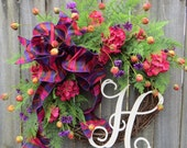 Geranium Wreath - Bright Spring Wreath - Monogram Spring Decor - Summer Wreath - Designer Wreath - Front Door Wreath - Pink, Purple, Orange