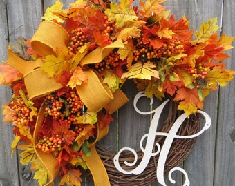 Fall Burlap Wreaths, Fall Wreath in Gold / Yellow, Autumn Wreath, Wreath for Harvest Door, Grapevine Wreath, Halloween, Thanksgiving