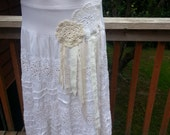 White Cut Out Lace Skirt - Boho - Prairie  - Shabby Chic  - Rustic Country Original One of a Kind - Beach - Long Maxi Ruffled Summer Skirt