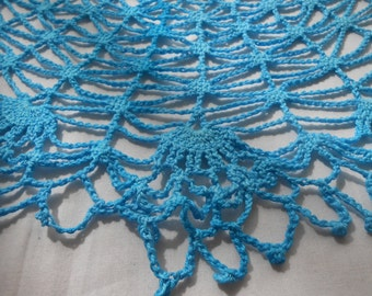 Round Aqua Crocheted Doily