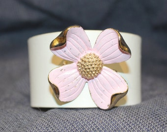 Upcycled Leather,Womens Cuff,Unique,Handmade,Bracelet,White Leather Cuff,Metal Broach,Antique,Pink Flower,Gift for Her,Jewelry,Recycled