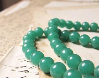 vintage jade glass beads - 1950s faux jade green beads - Peking glass - 6mm beads - 50 beads