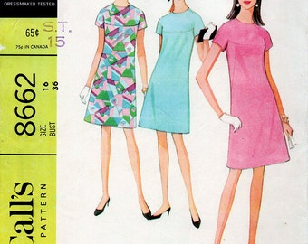 1960s A-line Dress with Yoke Pattern McCall's 8662 Mod Vintage Sewing Pattern Easy to Sew Above Knee Dress Bust 36 FF Unused