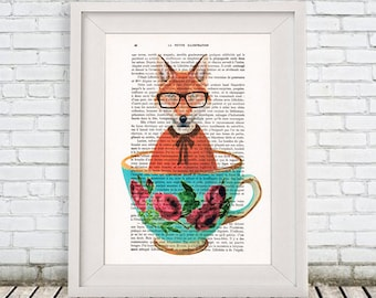 Fox Print, fox in teacup,Digital Illustration, dog Art, teacup Poster, Gift For Her, doggy in a teacup, teacup art, foxy print