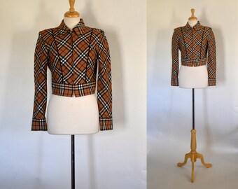 80s Jacket / 80s Cropped Jacket / Plaid Jacket / Vintage Dawn Joy Jacket / 80s Tan Jacket