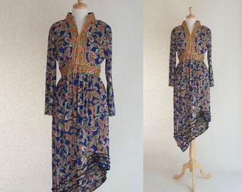 70s Upcycled Paisley Maxi Dress