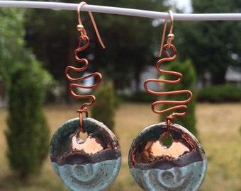 Greek Ceramic Raku and Copper Nautilus Earrings