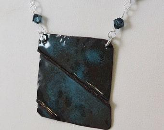 Enameled Copper Necklace, Enameled Jewelry, Metalwork Copper, Enameled Necklace, Swarovski Necklace