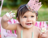 Sprinkle Candy lace crowns|| Rainbow || mini birthday crown || cake topper || cake smash || headband option || photo prop || Original Design