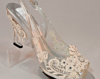 Cinderella Glass Wedge Shoes Fairytale Shoes Swarovski Glass Wedge Fairy Princess Bride Slippers