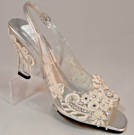 cinderella glass wedge shoes fairytale shoes by
