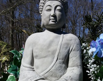 Concrete DETAILED LOTUS BUDDHA Statue