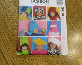 FUNKY Children's Hats and Mittens in Polar Fleece and Fun Fur - Winter Touque, Beret, Hunter Cap - UNCUT Sewing Pattern McCalls 3404