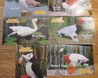 Crochet WATERFOWL - A Selection of Birds - Redhead Duck, Puffin, Mallard Duck - Vintage CROCHET Pattern by Annie's Attic