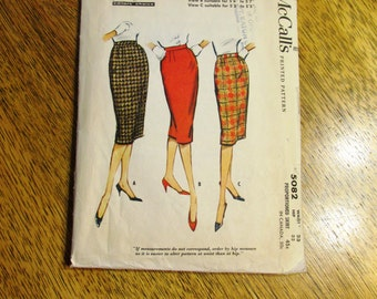 "Mid Century MODERN 1950's Slim PENCIL Skirt / Wiggle Skirt - Quick and Easy - (Waist 23"") - VINTAGE Sewing Pattern McCalls 5082"