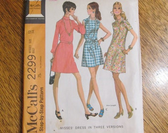 1970s MOD A-Line Mini Dress in 3 Versions / Cute Retro Go Go Dress - CHOOSE Size 12 or 16 - UNCUT Vintage Sewing Pattern McCalls 2299