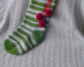 CHRISTMAS STOCKINGwith Red PomPoms, Present, Olive Green/White Striped Stocking, Gift for Him, Gift for Her, Handmade Christmas Stocking