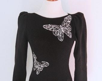 1980s Knit Butterfly Dress Black Pat Sandler Wellmore Beaded Sequins Womens Vintage Medium