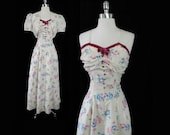 Vintage 40's Creme Taffeta Red Velvet Pink Roses Party Eveing Dress Gown Bolero Set M
