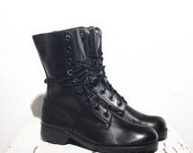 8 R Men | 10 R Women | 1970's Vintage Black Combat Boots